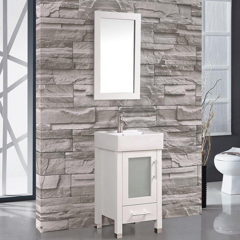 bosarge 18 single sink bathroom vanity set with mirror