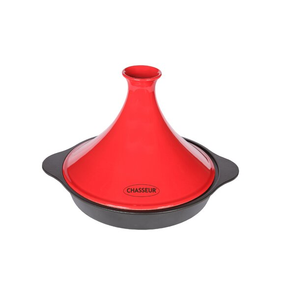 3.7 Qt. Cast Iron Round Tagine with a Ceramic Cone Lid by Chasseur