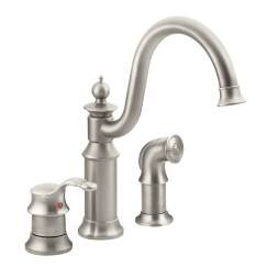 Waterhill Single Handle Kitchen Faucet with Side Spray and Duralock™ by Moen