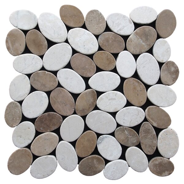 Coin Random Sized Natural Stone Pebble Tile in Tan White Blend by Pebble Tile