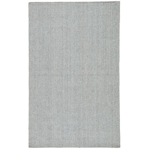 Criss Hand-Woven Steel Gray/Cameo Blue Area Rug by Rosecliff Heights