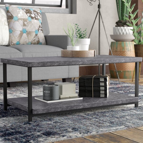 Vlad Slate Faux Concrete Coffee Table by 17 Stories