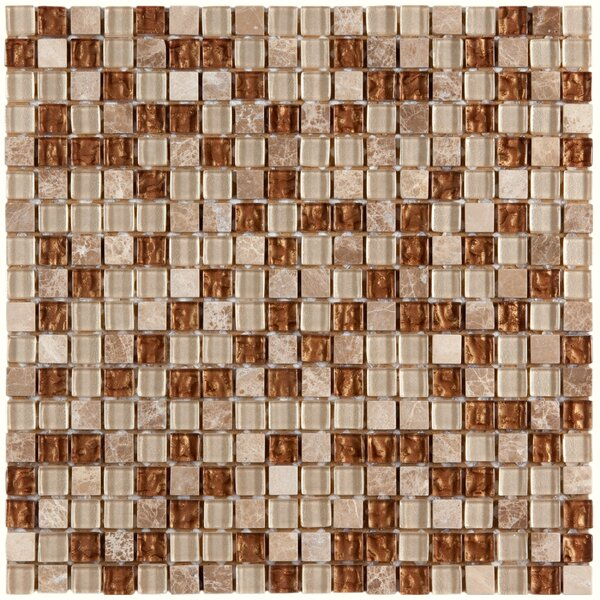 Sierra 0.58 x 0.58 Glass and Natural Stone Mosaic Tile in Caramel by EliteTile