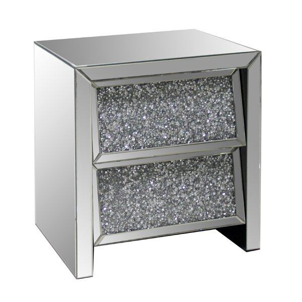 2 Drawer Crystal Mirror End Table by Best Quality Furniture