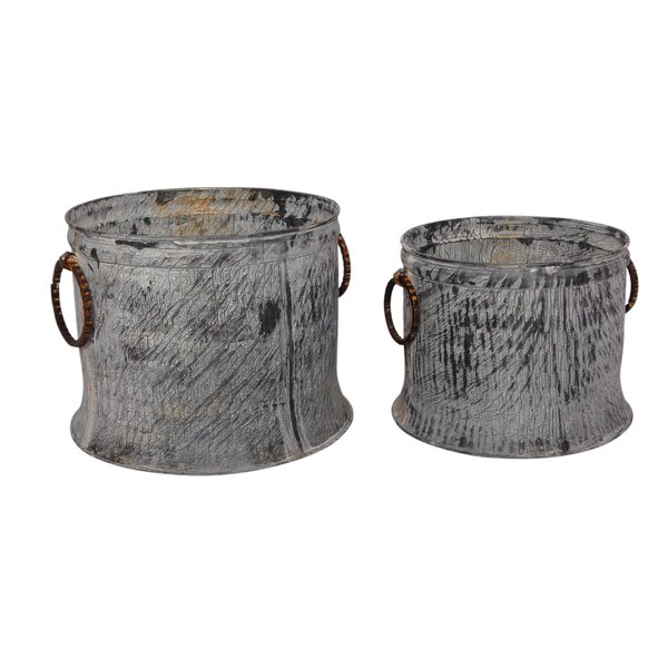 2 Piece Galvanized Iron Pot Planter Set by BIDKhome
