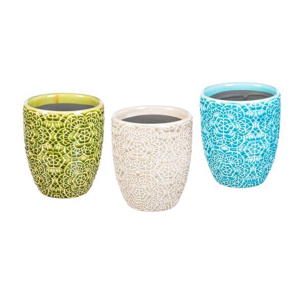 Piccirillo Embossed Ceramic Pot Planter (Set of 3) by Bungalow Rose