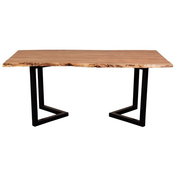 Leslie Acacia Live Edge Solid Wood Dining Table by Loon Peak