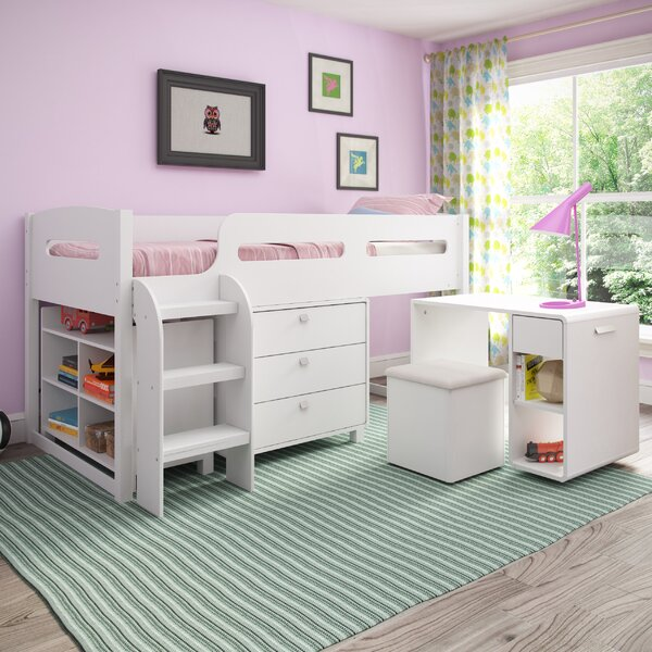 Angelica Twin Low Loft Bed with Drawers and Shelves by Mack & Milo