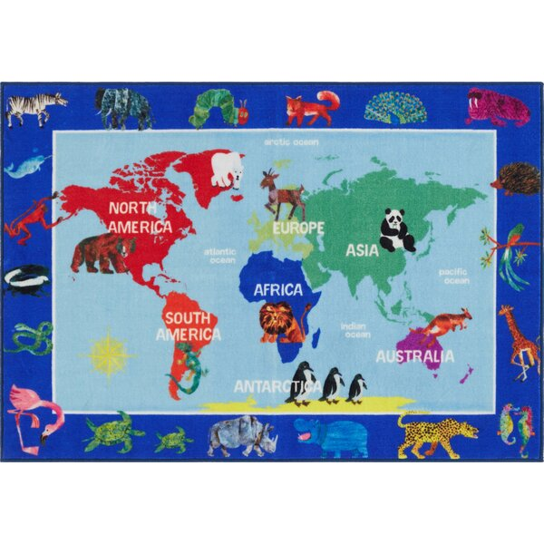 World Map Educational Blue Area Rug by Eric Carle