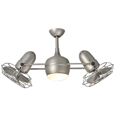 17 Stories 39 Valerian 6 Blade LED Ceiling Fan with Wall Remote Finish Brushed Nickel