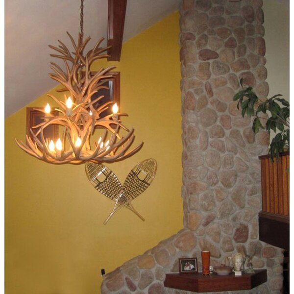 Attwood Antler Whitetail/Mule Deer Cascade 12-Light Shaded Tiered Chandelier By Loon Peak