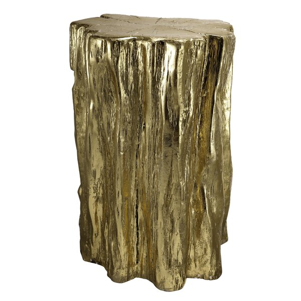 Degelia Golden Tree Trunk Accent Stool by Everly Quinn