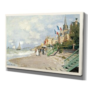 'Plage-a-Trouville' by Claude Monet Painting Print on Wrapped Canvas by Wexford Home