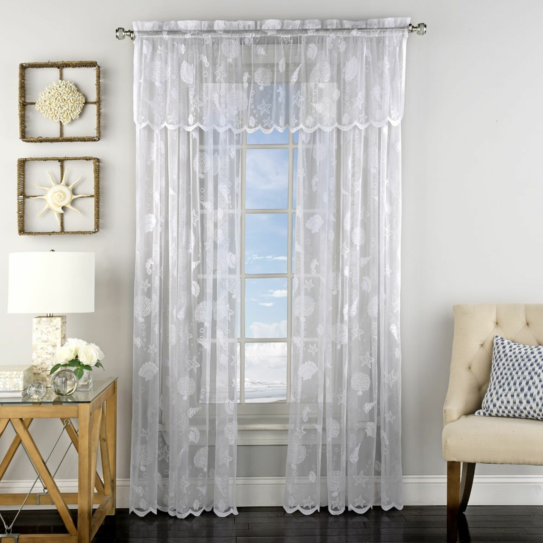 Highland Dunes Antonella Corales De Marina Knitted Jacquard Lace Window Semi Sheer Curtain Panels Reviews Wayfair Ca