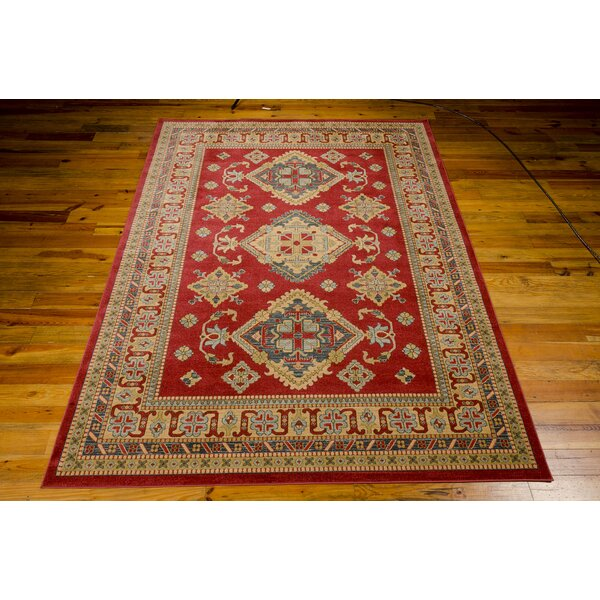 Garney Red/Gold Area Rug by Bloomsbury Market