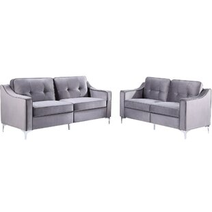2 Pieces Tufted Velvet Upholstered Loveseat & Couch Sofa Track Arm Classic Mid-Century Modern Sofa Set With Chromed Metal Legs by Everly Quinn