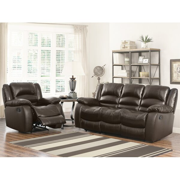 Jorgensen Leather Reclining Sofa by Darby Home Co