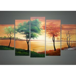 Changing Seasons Landscape 5 Piece Painting on Canvas Set