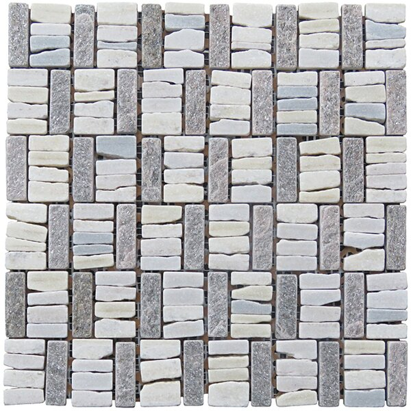 Landscape Wonder 12 x 12 Quartzite Basketweave Natural Stone Blend Mosaic Tile in White and Gray by Intrend Tile