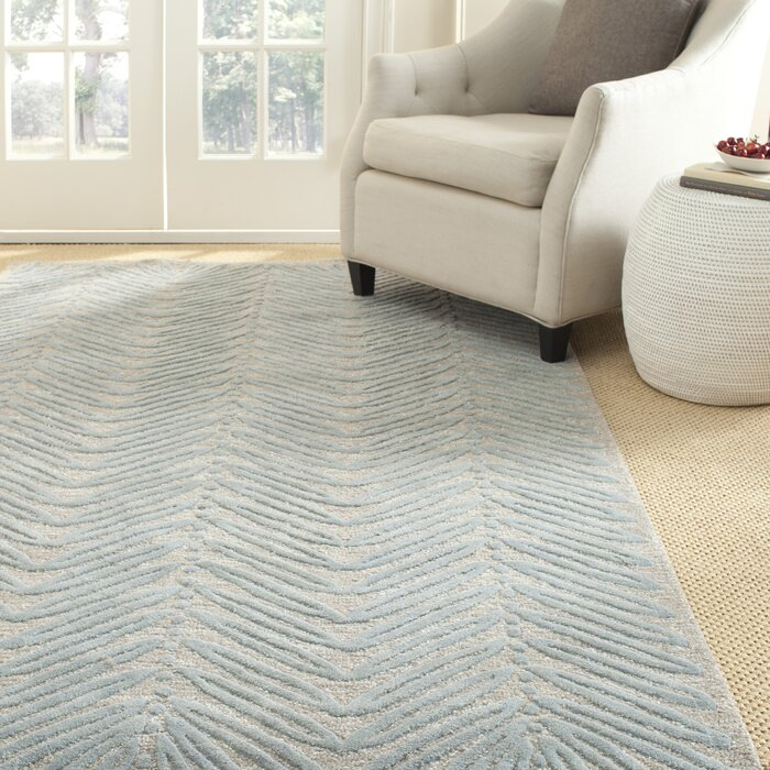 Chevron Leaves Hand Tufted Wool Teal Blue Ivory Oat Area Rug