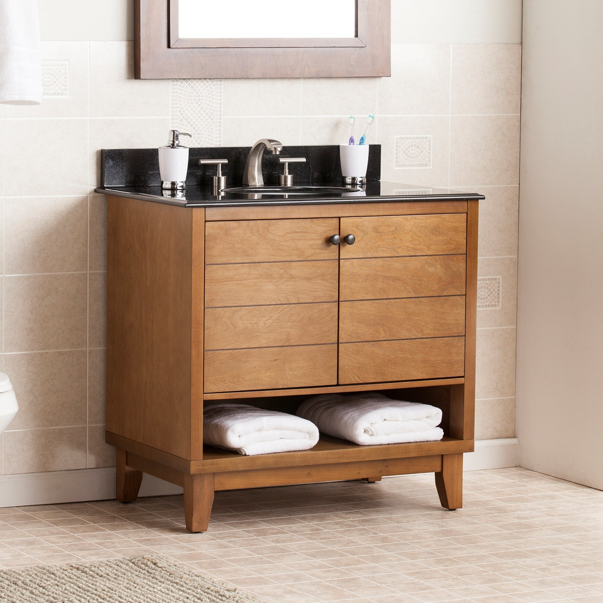 Wildon Home Reading 34 Single Bath Vanity Sink With Granite Top Reviews Wayfair