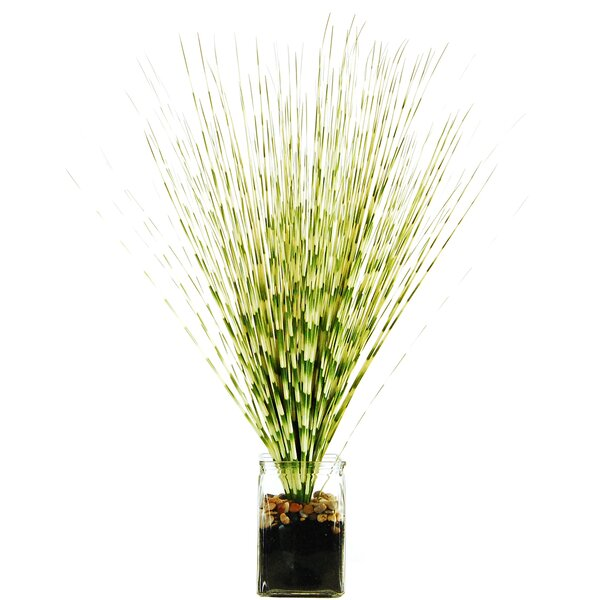Zebra Grass in a Jar with River Rocks, Faux Dirt and Faux Water by LCG Florals