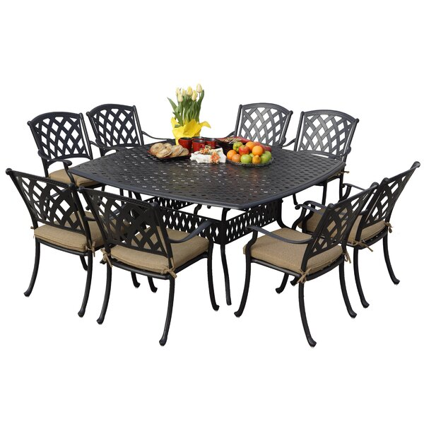 Campton 9 Piece Dining Set with Cushions by Fleur De Lis Living