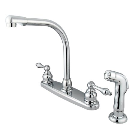 Victorian Double Handle Kitchen Faucet with Side Spray by Elements of Design