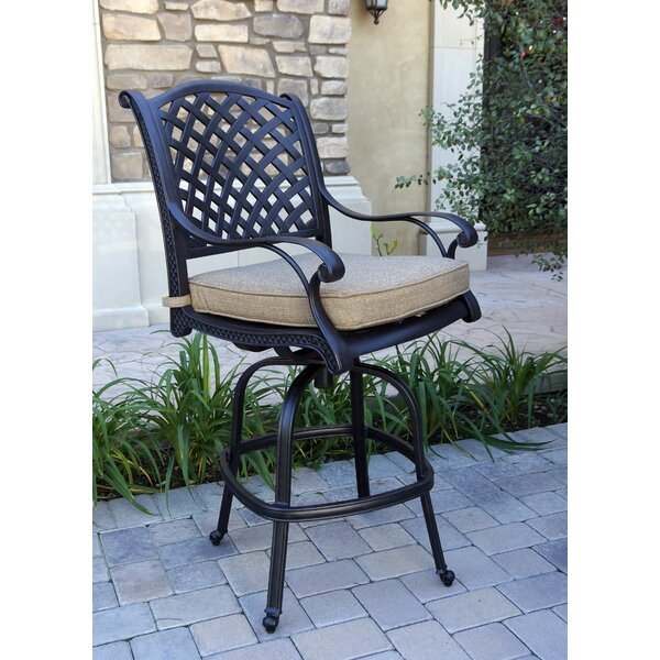 Lincolnville Swivel 30-inch Patio Bar Stool With Cushion (Set Of 4) By Fleur De Lis Living