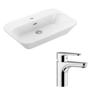 Best Price Edge Ceramic Ceramic U-Shaped Vessel Bathroom Sink with Faucet and Overflow ByWS Bath Collections