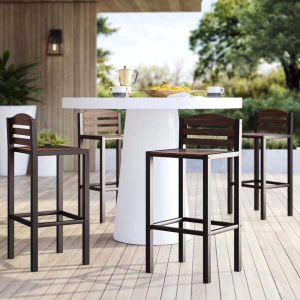 Pulcova 29.92-inch Patio Bar Stool (Set Of 2) By Mercury Row