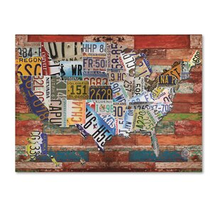 'USA License Plate on Colorful Wood' Graphic Art Print on Canvas by Trademark Fine Art