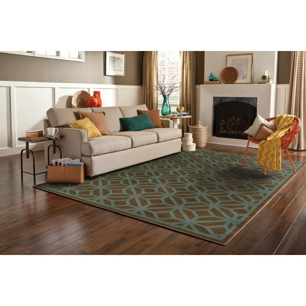 Halloran Brown/Blue Area Rug by Wrought Studio
