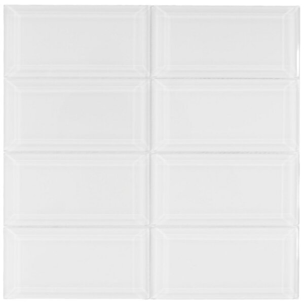 Oxygen 3 x 6 Beveled Glass Mosaic Tile in White by CNK Tile