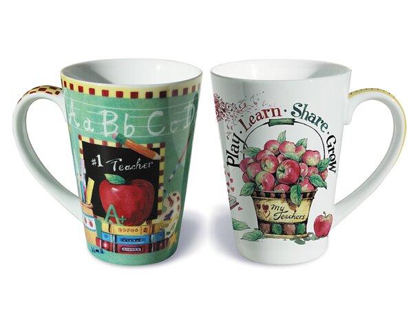 2 Piece Teacher Fine Porcelain Gift Mug Set by The Holiday Aisle