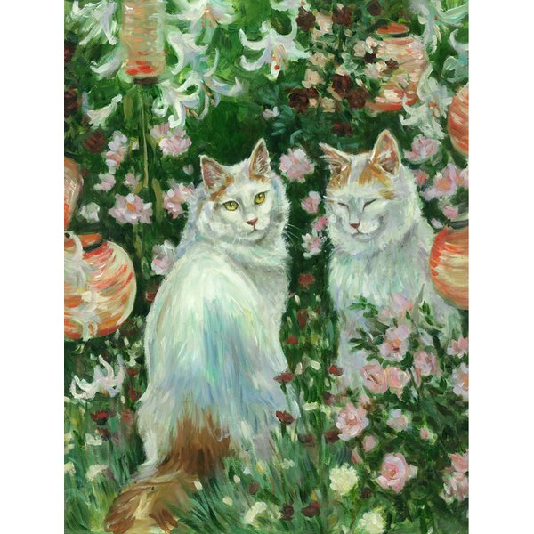 Cats In Garden by Debbie Cook 2-Sided Garden Flag by Caroline's Treasures