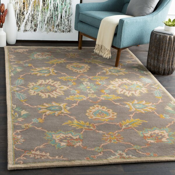 Degnan Floral Handmade Tufted Wool Gray/Yellow Area Rug
