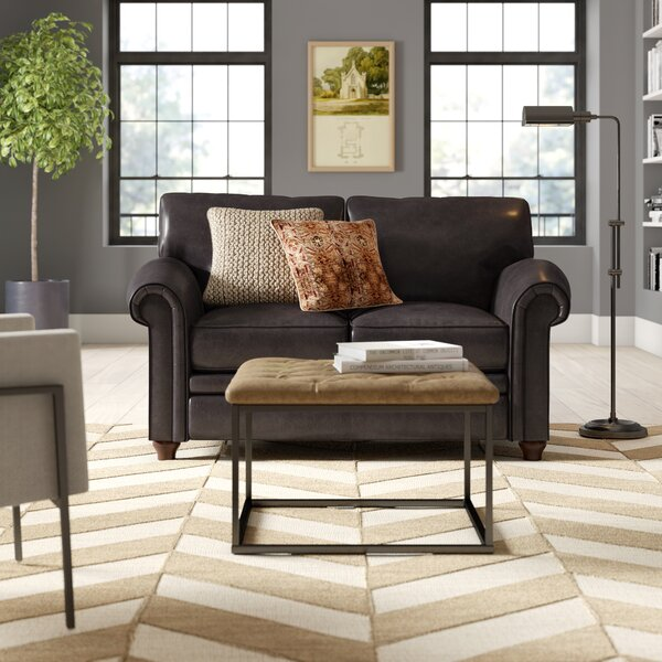 Home & Outdoor Isidro 2 Seater Leather Loveseat