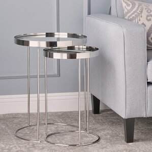 mirror table. adcock mirror 2 piece nested table set