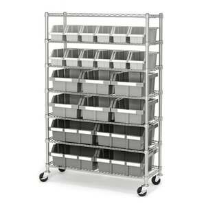 Commercial 7 Shelf Bin Rack Storage System