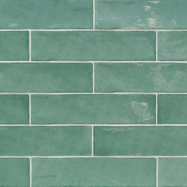 Catalina 3 x 12 Porcelain Subway Tile in Green Lake by Splashback Tile