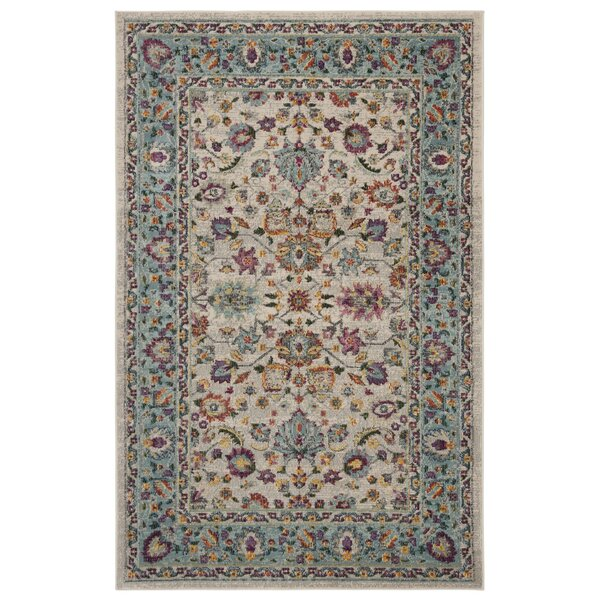 Doucet Cream/Blue Area Rug by Bungalow Rose