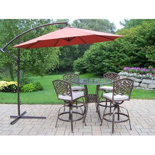 Hummingbird Mississippi 5 Piece Bar Height Dining Set with Cushions and Umbrella By Oakland Living
