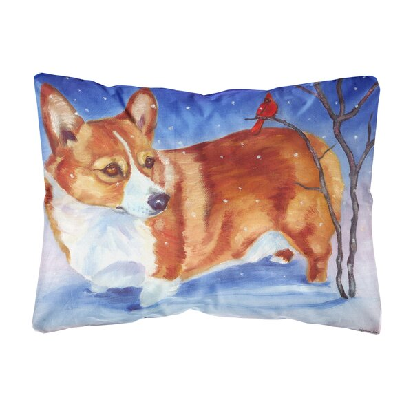 Scofield Corgi Cardinal Buddy Fabric Indoor/Outdoor Throw Pillow by Winston Porter