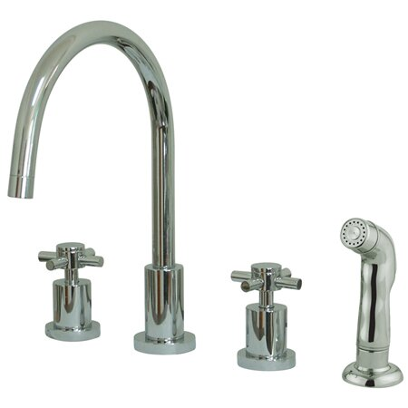 South Beach Double Cross Handle Widespread Kitchen Faucet with Non-Metallic Sprayer by Elements of Design