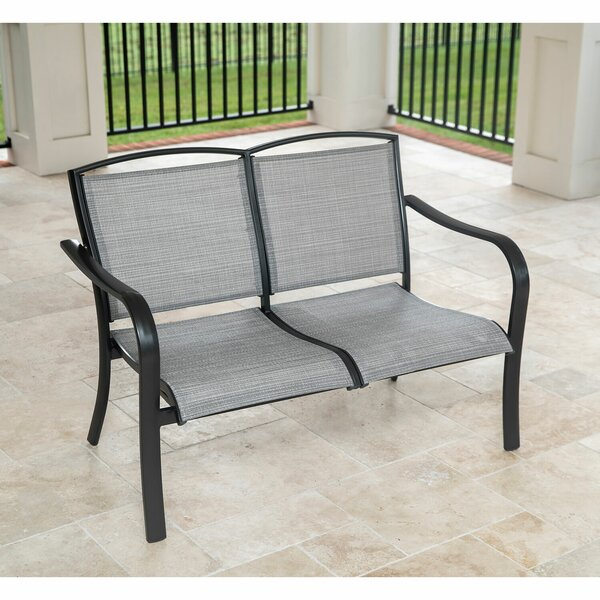 Wrenn All-Weather Commercial-Grade Aluminum Loveseat with Sunbrella Sling Fabric by Charlton Home Charlton Home