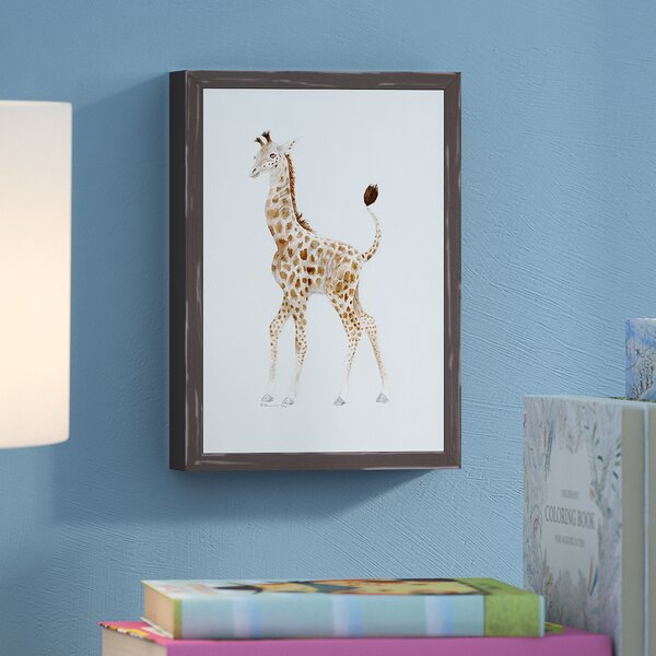 Dottie Standing Giraffe Framed Canvas Art by Harriet Bee