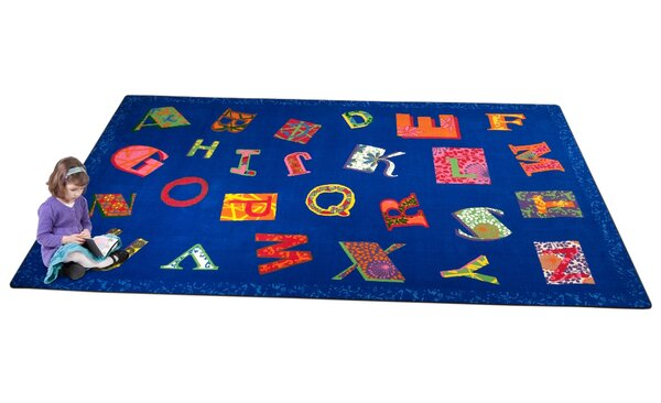 Patchwork ABC Blue Area Rug by Kid Carpet