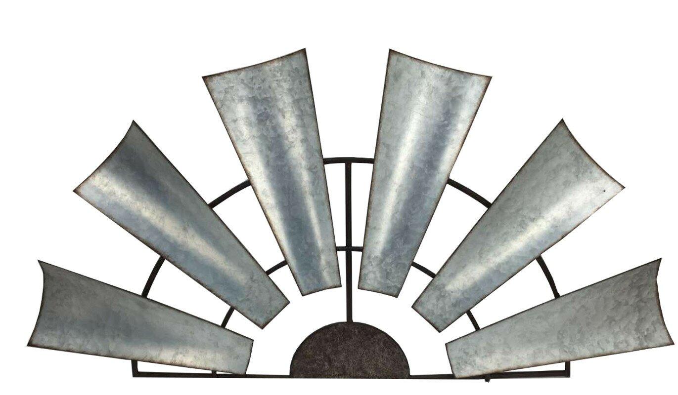 Laurel foundry modern farmhouse galvanized metal half windmill galvanized metal half windmill wall dcor amipublicfo Images