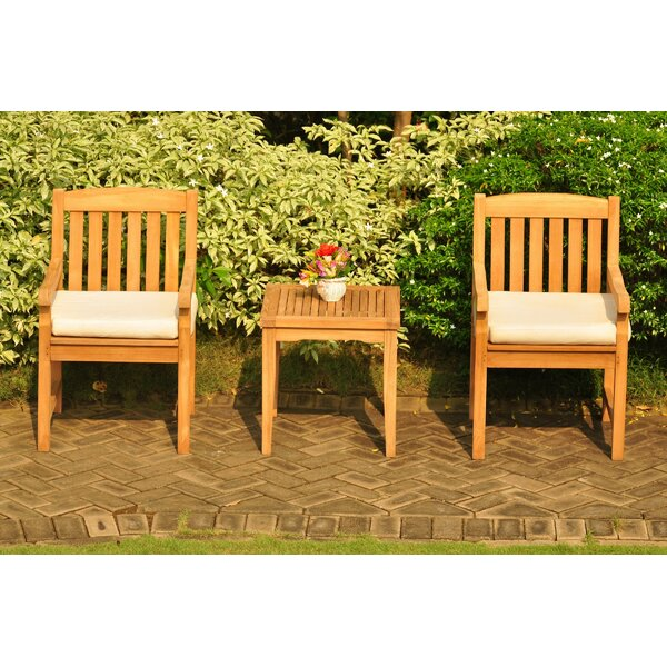SantaMarina 3 Piece Teak Seating Group by Rosecliff Heights